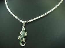 925 Sterling Silber Kette & Krokodil Anhänger mit Smaragd Besatz / 56,4 cm