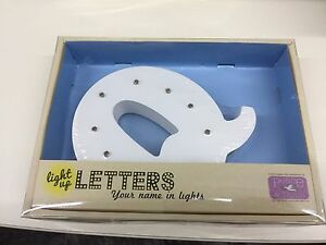 Light Up Letter Q Warm White LED Lamp Ideal for Night Lamp - New