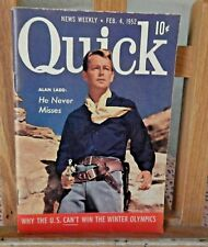 "1952 NEWS WEEKLY QUICK BOOK ALAN LADD ""HE NEVER MISSES"" MAGAZINE Feb.4, 1952"