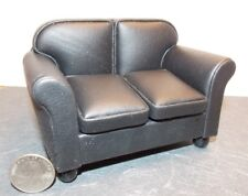 Dollhouse Miniature Loveseat Black Leather 1:12 inch scale F71 Dollys Gallery