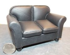 Dollhouse Miniature Loveseat Black Leather 1:12 inch scale Y42 Dollys Gallery