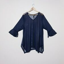 Taking Shape TS Plus Size M Sheer Navy Blue Trumpet Sleeve Top Shirt
