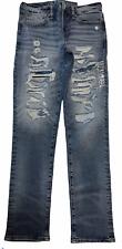 NWT AMERICAN EAGLE Flex Slim Jeans 31x32 Ripped Lighter Wash #897939
