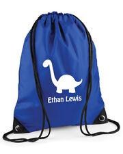 Personalised Kids' Dinosaur Drawstring Swimming PE Bag,Blue/Pink/Red/Purple
