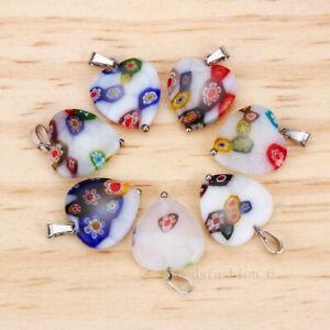 Wholesale White 5pcs Flower Millefiori Glass Heart Stainless steel Bead Pendant