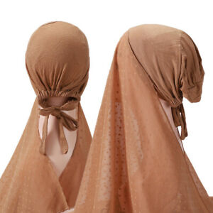 Muslim Women One Piece Convenient with Rope Inner Hijab Shawl Elastic Hats