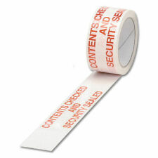 More details for polypropylene tape printed contents checked 50mmx66m pack of 6white red ppp