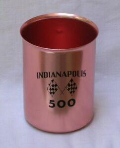 INDIANAPOLIS 500 Souvenir Tin Mug Cup 1960's COLOR CRAFT INDY RACE
