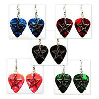 Double Stars Star Charm Guitar Pick Earrings - Choose Color - Handmade in USA
