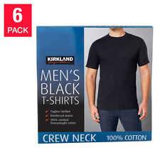 Kirkland Men's 6-pack Black 100% Cotton Crew Neck T-shirt Fast SHIPPING!