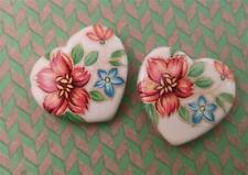 Vintage 24 x 26mm Decale Floral Glass Heart Beads Charms Pendants 2