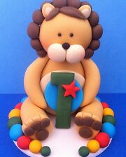 Edible Fondant 3D Lion Holding a Number BABY SHOWER BIRTHDAY CAKE TOPPERS
