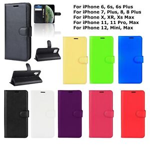 For Apple iPhone 11 12 13 Pro Max Leather Case Wallet Folio Cover Flip Pouch