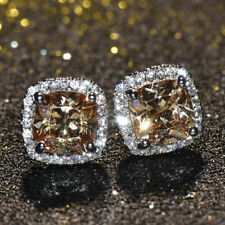 925 Silver Square Cut Champagne Topaz  AAA Zircon Stud Earrings Women's Jewelry