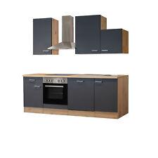 Küchenzeile Küchenblock Einbauküche Elektro-Geräte 220 cm grau matt beige