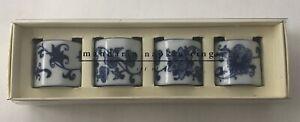 Pier One White Blue Floral Porcelain Napkin Rings Set of 4 Glossy Mandarin
