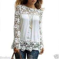 Fashion Women Long Sleeve Shirt Lace Blouse Loose Cotton Tops T Shirt Size S-5XL