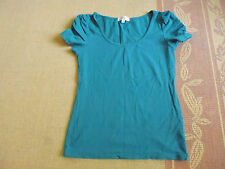 LADIES BEAUTIFUL GREEN SHORT SLEEVE COTTON TOP BY TEMT - SIZE L - AUS 10/12