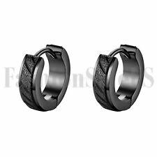 Stainless Steel Charm Huggie Hoop Earrings 2pcs Men's Classic Cool Wide Black
