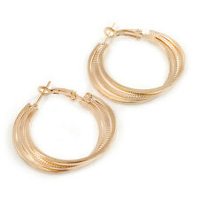 30mm Triple Hoop Polished and Textured Earrings In Gold Tone