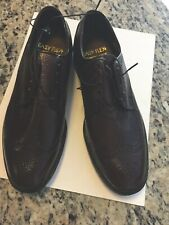 Easy Flex Shoes Oxfords Wingtip Mens Brown Leather Sz 10.5 D Hand Made USA NWOB