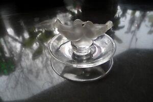 lalique bird pin dish acid etched