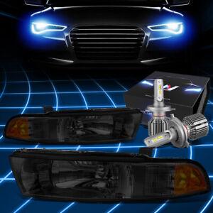 Fit 1999-2003 Mitsubishi Galant Headlight Lamps w/LED Kit+Cool Fan Smoked/Amber