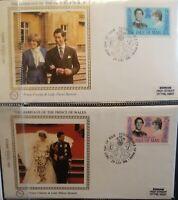 1981 Isle Of Man IOM Charles & Diana Spencer Royal Wedding Benham FDC BMS5a-b
