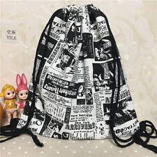 Cotton Canvas Drawstring Backpack Student Book Bag illustrated Newspaper B321 S