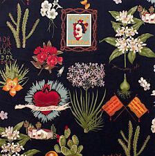 1m Viva Frida black Fabric - Alexander Henry PER METRE Kahlo Mexican cactus day