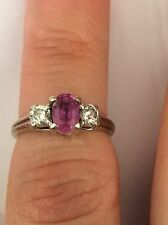 3.3 mm Two Round Cut Diamonds And Purple Tapas Engagement Ring18K White Gold