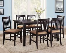 7 Piece Dining Set Espresso Brown Wood Dinner Table Cushioned Chairs Seats 6