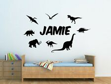 Personalised Kids Dinosaur & Name Wall Art Sticker, Boys Bedroom