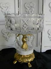 Fabulous Antique Crystal Compote Ormolu Base~Prisms~Claw Feet~Hollywood Regency