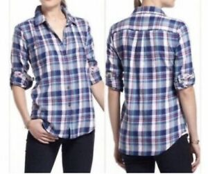 Anthropologie Birds of Paradis by Trovata •S• Plaid Button Up Shirt Pleated