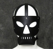 black faux leather face mask hood head harness cosplay fancy dress gimp