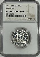 2001 S NGC PF70 ULTRA CAMEO PROOF SILVER VERMONT QUARTER 90% 25c BROWN LABEL
