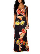 New Women Summer Boho Floral Maxi Evening Party Dress Beach Long Dress Size 8-24