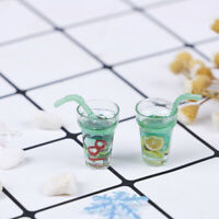 2x 1:12 Dollhouse accessories mini green lemon tea simulation drinks model to BX