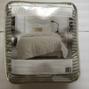 """COASTAL LIVING Home Collection Ticking Stripe Twin Quilt Set 68"""" x 86"""" Taupe"""