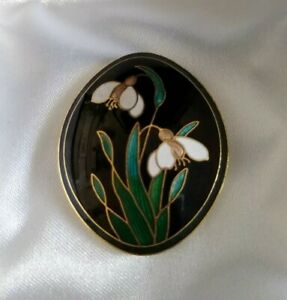 Oval Brooch Pin-  Enamelled Snowdrop Flower Floral  -  Signed Fish Logo
