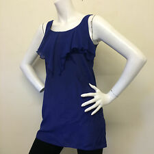 Miss Selfridge Ladies Purple Sleeveless Chiffon Frilly Blouse Vest Top UK Size 6