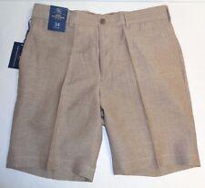 Hart Schaffner Marx Size 36 FLAT FRONT Brown Khaki Linen Wool Shorts New Mens