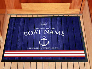 Personalised Boat - Canal Barge - Yacht door Red stripe Blue mat 60 x 40 cm