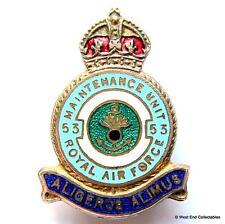 1940s WW2 RAF 53 MU Maintenance Unit Enamel Brooch Badge - Royal Air Force