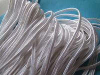 23 METER Flach kordel Satin Weiß 3mm elegante Borte Spitze KR 90