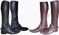 Leather Half Chaps various Sizes Black/Brown Adults/Children Horse Riding New