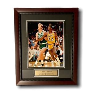 Larry Bird & Magic Johnson Celtics Lakers Unsigned Photo Custom Framed to 11x14