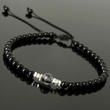 Men Women Braided Bracelet Black Onyx Rutilated Quartz Sterling Silver Bead 1205