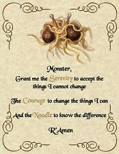 FSM Serenity Prayer Pastafarian Flying Spaghetti Monster Agnostic Atheist Weird
